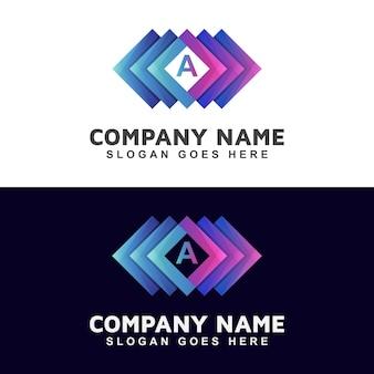 Logotipo cuadrado abstracto dentro de la letra inicial de su marca