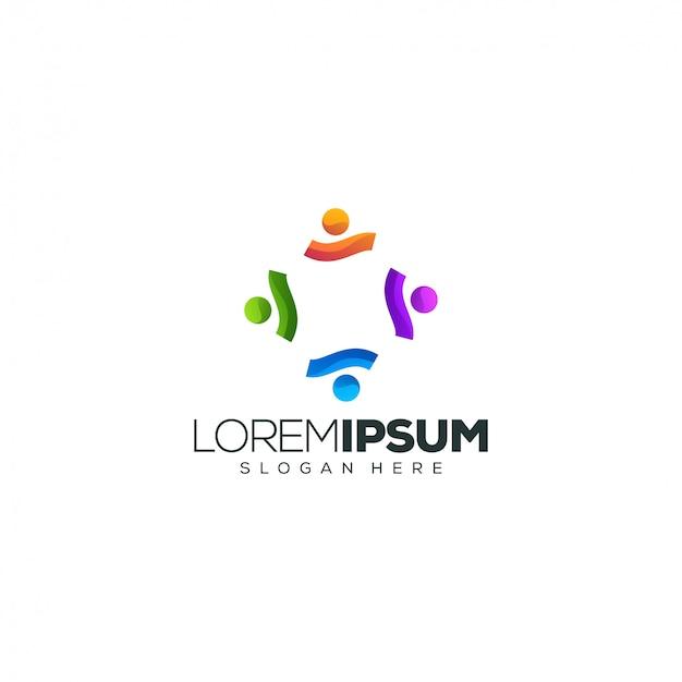 Logotipo cuadrado de personas