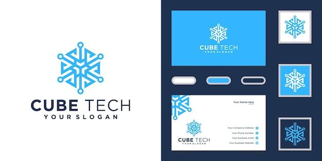Logotipo de cube tech, tarjeta de presentación hexagonal e inspiración