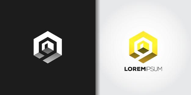 Logotipo de cubo amarillo