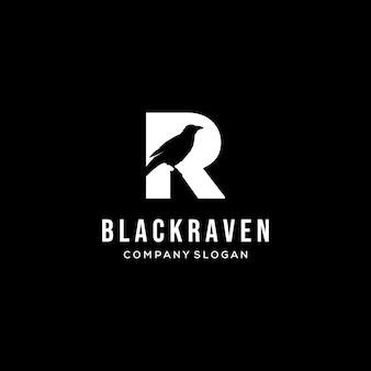 Logotipo de cuervo en diseño de ilustración vectorial letra r