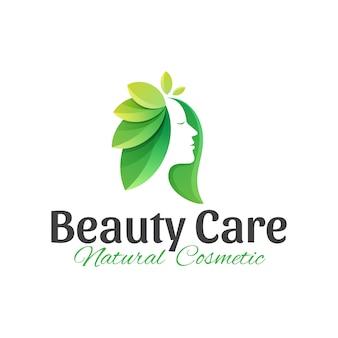 Logotipo de cuidado de belleza natural.