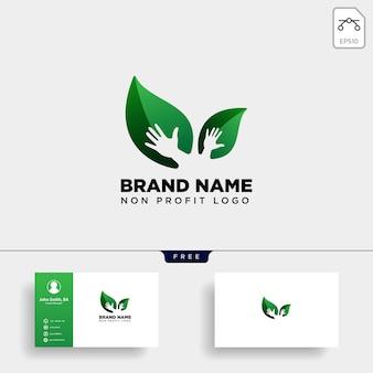 Logotipo de cuidado de manos de hoja ecológica