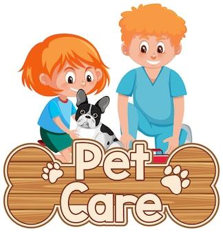 Logotipo de cuidado de mascotas o banner con médico veterinario y perro