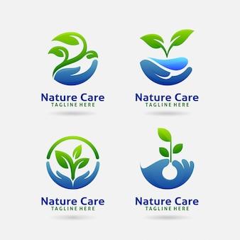Logotipo de cuidado de la naturaleza