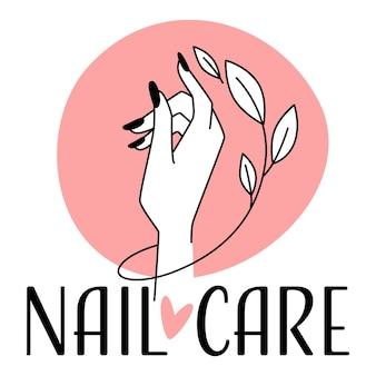 Logotipo de cuidado y tratamiento de uñas para manicura.