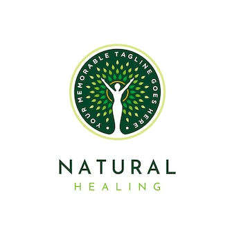 Logotipo de curación natural