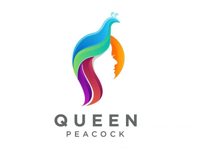 Logotipo de dama moderna pavo real