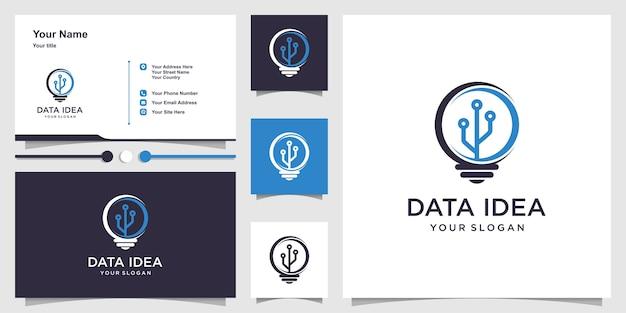 Logotipo de datos con idea creativa y conjunto de tarjetas de visita.