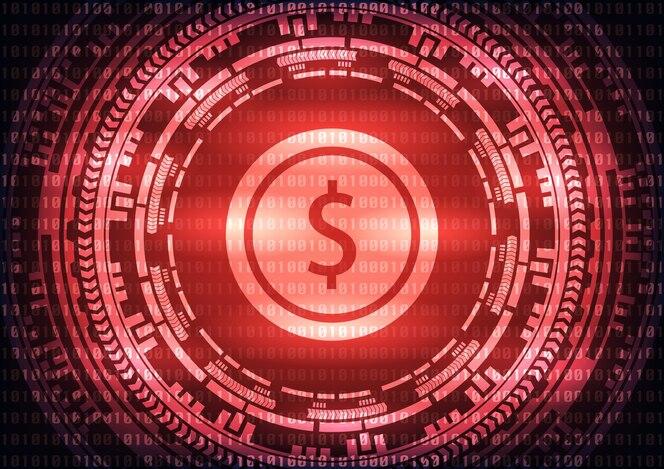 Logotipo de dólar tecnología abstracta sobre fondo rojo.