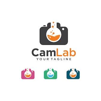 Logotipo de laboratorio de cámara con combinación de cámara y vidrio de laboratorio