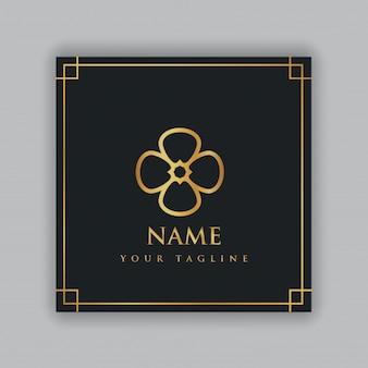 Logotipo de lujo con marco dorado
