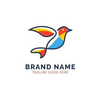 Logotipo de pájaro contorno colorido