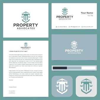 Logotipo de defensores de la propiedad y tarjeta de presentación