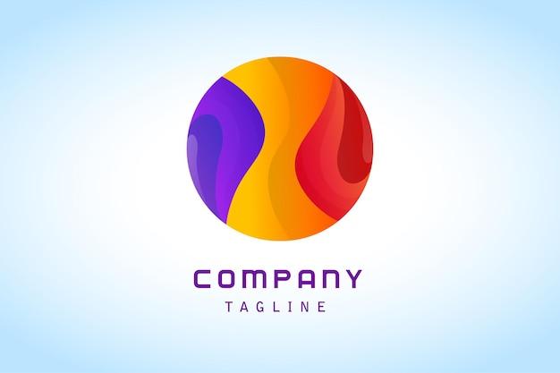 Logotipo de degradado abstracto de círculo púrpura amarillo rojo colorido