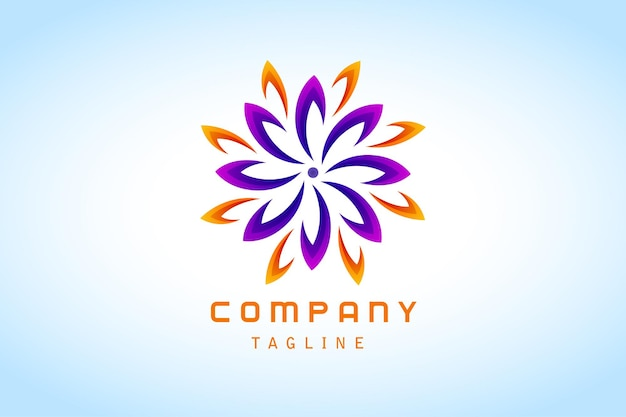 Logotipo de degradado abstracto naranja púrpura corporativo