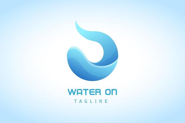 Logotipo de degradado de agua de onda azul para empresas