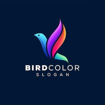 Logotipo de degradado de color de pájaro