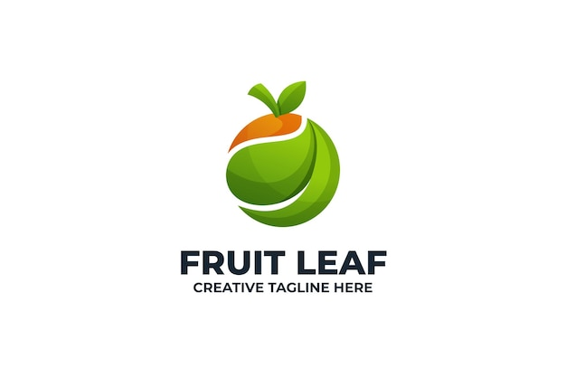 Logotipo de degradado colorido de hoja de fruta fresca