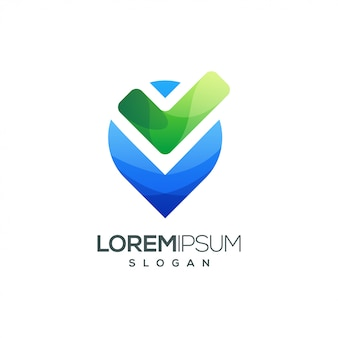 Logotipo de degradado colorido lista de verificación