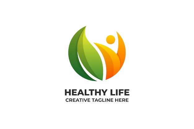 Logotipo de degradado colorido de vida saludable