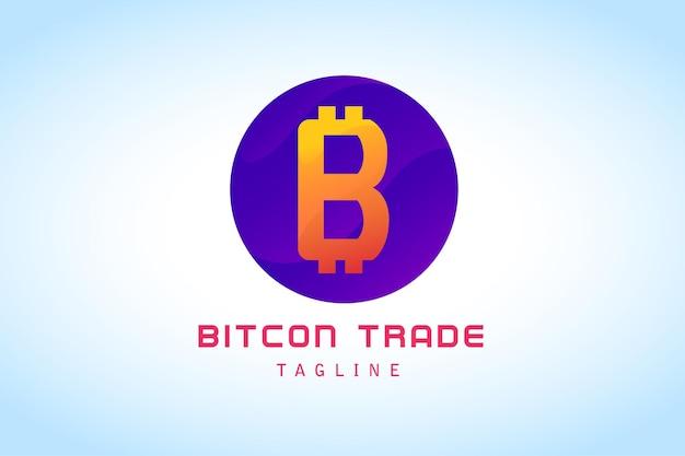 Logotipo degradado de comercio de bitcoin naranja púrpura