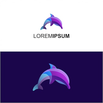 Logotipo de degradado de delfines