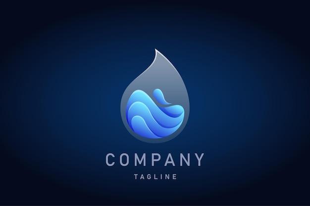 Logotipo de degradado transparente de gota de agua azul