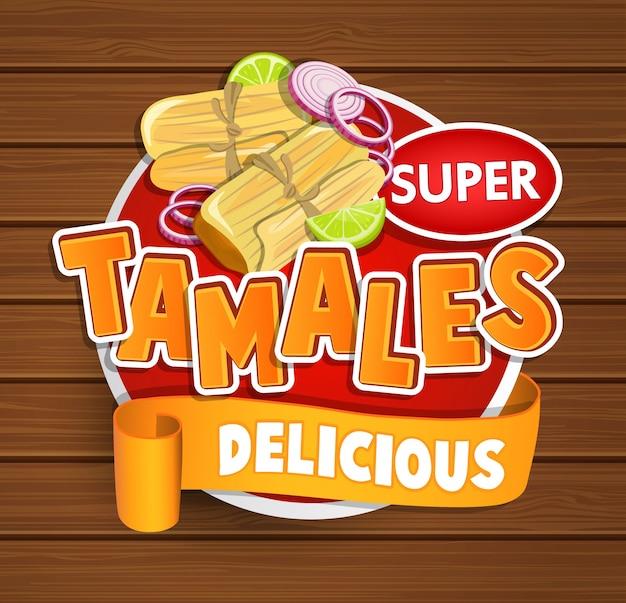 Logotipo delicioso de los tamales, símbolo, etiqueta engomada.