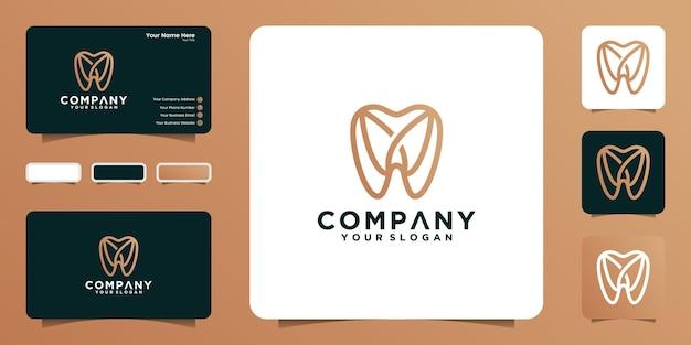 Logotipo dental con estilo de arte lineal y tarjeta de visita.