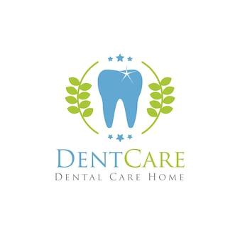 Logotipo de dentista de atención dental con diente azul y placa de hojas verdes