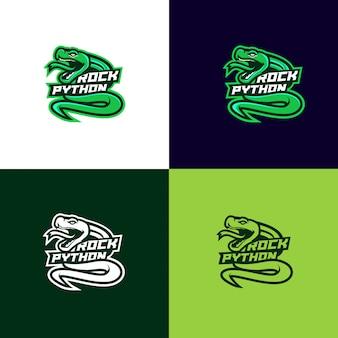 Logotipo del deporte cabeza serpiente pitón