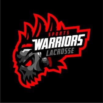 Logotipo de deporte de guerreros de calavera lacrosse