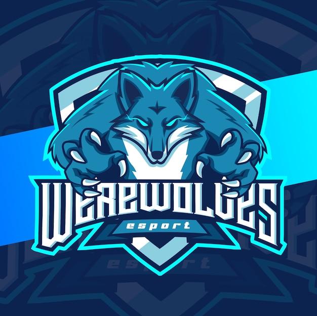Logotipo de deporte de mascota de hombres lobo