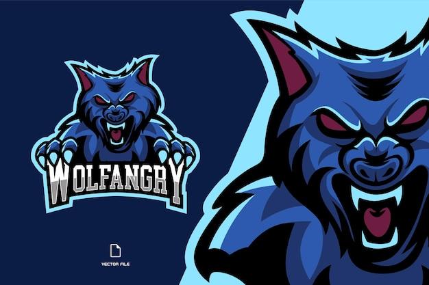 Logotipo del deporte de la mascota del lobo enojado