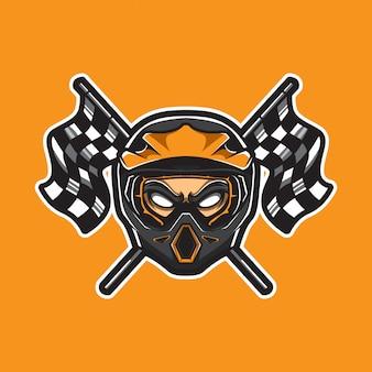 Logotipo del deporte de motocross con banderas a cuadros