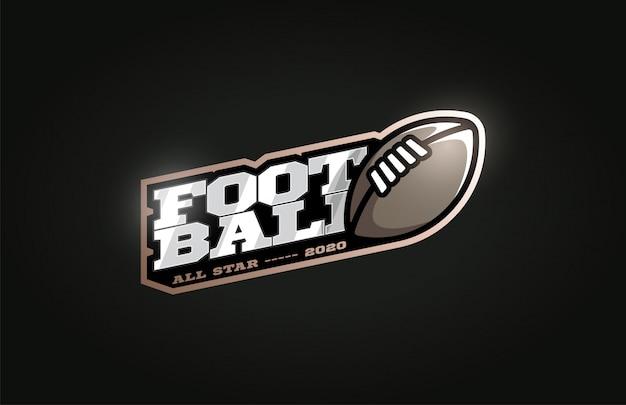 Logotipo de deporte profesional moderno de fútbol americano en estilo retro