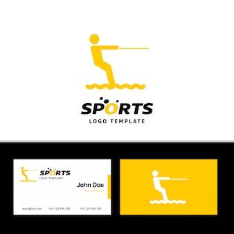 Logotipo de deportes acuáticos y plantilla de tarjeta de visita