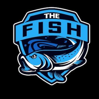 Logotipo de deportes de pescado y esports