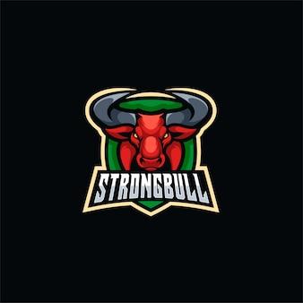 Logotipo deportivo strong bull e.