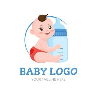 Logotipo detallado del bebé sonriente