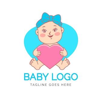 Logotipo detallado de lindo bebé