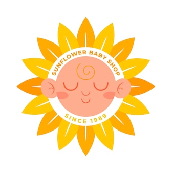 Logotipo detallado de sunflower baby shop