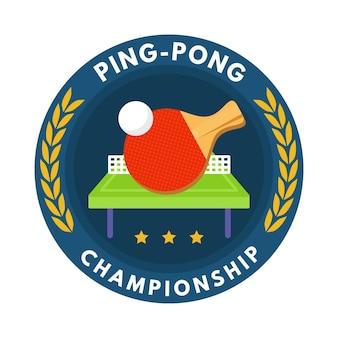 Logotipo detallado de tenis de mesa con raqueta y pelota