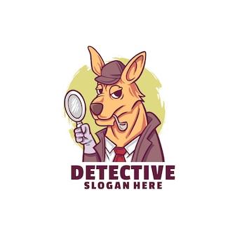 Logotipo de detective canguro aislado en blanco