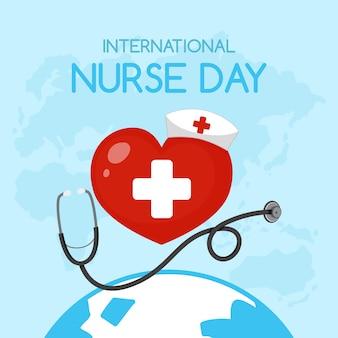 Logotipo del día internacional de la enfermera con cruz médica en corazón