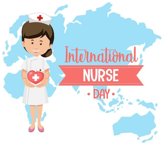 Logotipo del día internacional de la enfermera con linda enfermera en el fondo del mapa