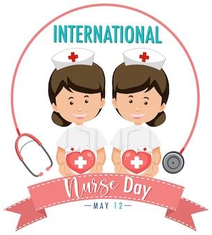 Logotipo del día internacional de la enfermera con lindas enfermeras