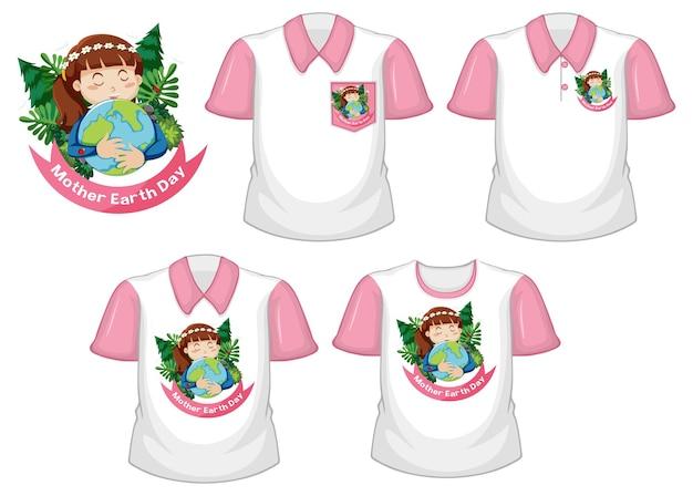 Logotipo del día de la madre tierra y conjunto de diferentes camisas blancas con mangas cortas rosas aisladas en blanco
