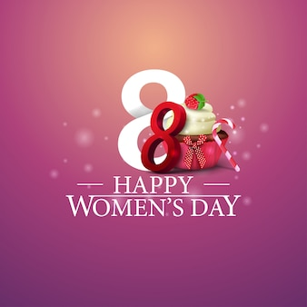 Logotipo del día de la mujer feliz con el número ocho y cupcake